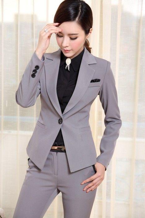 2014 жінок-ділові-костюми-формальний-жінка-бізнес-робота-костюм-з-брюками-офіс-єдиному-стилі-Великий-розмір