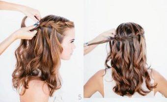 Як заплести красиву косу-водоспад крок 5-6