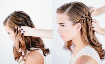 Як заплести красиву косу-водоспад крок 7-8