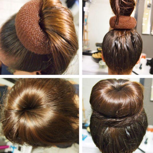Зачіска з бубликом на волосся середньої довжини.