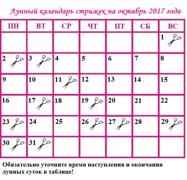 Місячний календар стрижок на жовтень 2017 року: сприятливі дні