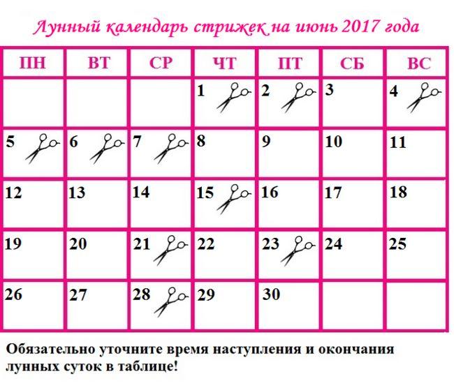 Місячний календар стрижок на червень 2017 року: сприятливі дні