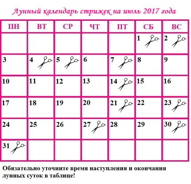 Місячний календар стрижок на липень 2017 року: сприятливі дні