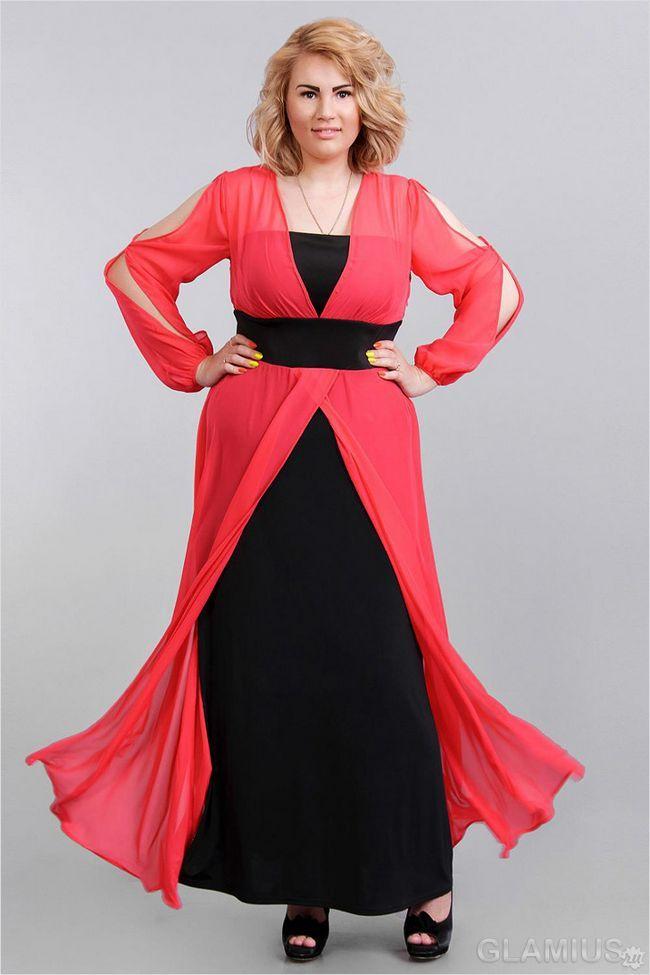 Цікавий варіант довгої сукні для повних