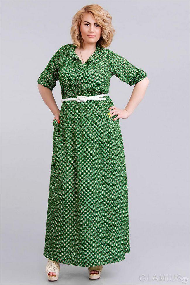 Зелену сукню з рукавом для повних