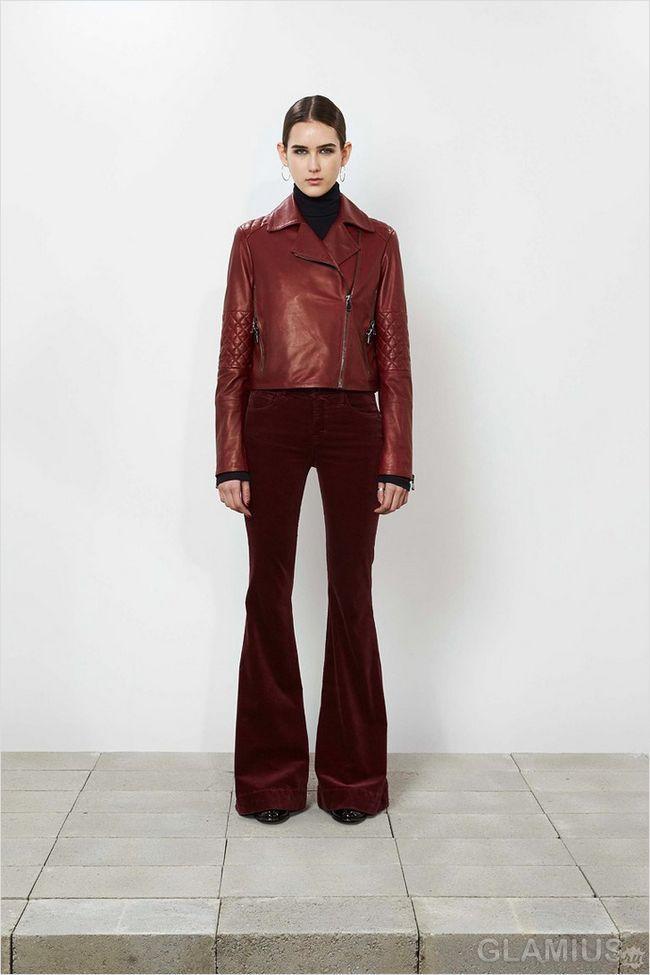Штани кльош темно-бордового кольору