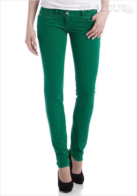 Зелені жіночі джинси