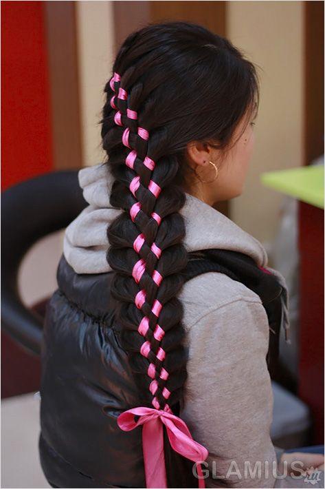 Багатопрядні коса з стрічкою