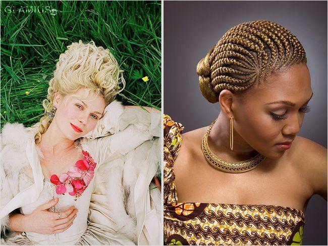 Зачіска в стилі Марії-Антуанетти і Африканські косички, зібрані в пучок