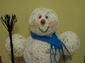Сніговик з ниток своїми руками