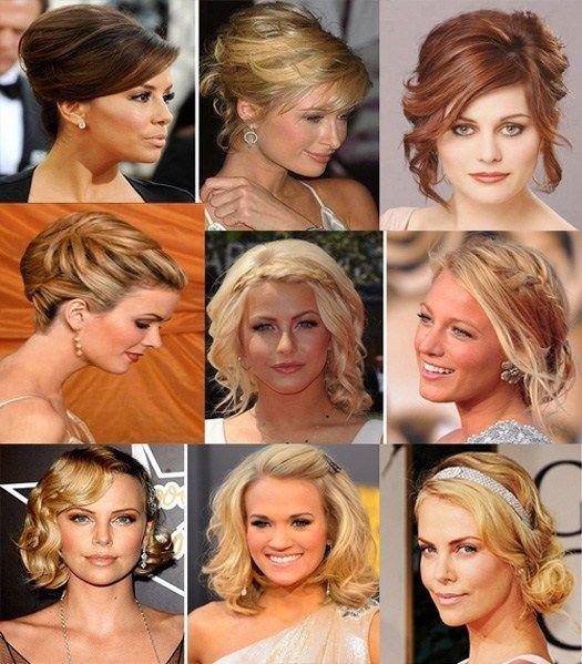 Святкова укладання для волосся середньої довжини